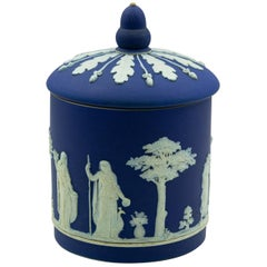 Antique Wedgwood Dark Cobalt Blue Jasperware Acorn Biscuit Barrel Cookie Jar
