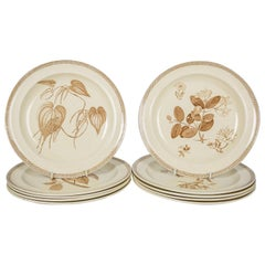 Antique Wedgwood Dishes Creamware in the Aesthetic Style with Brown Decoration