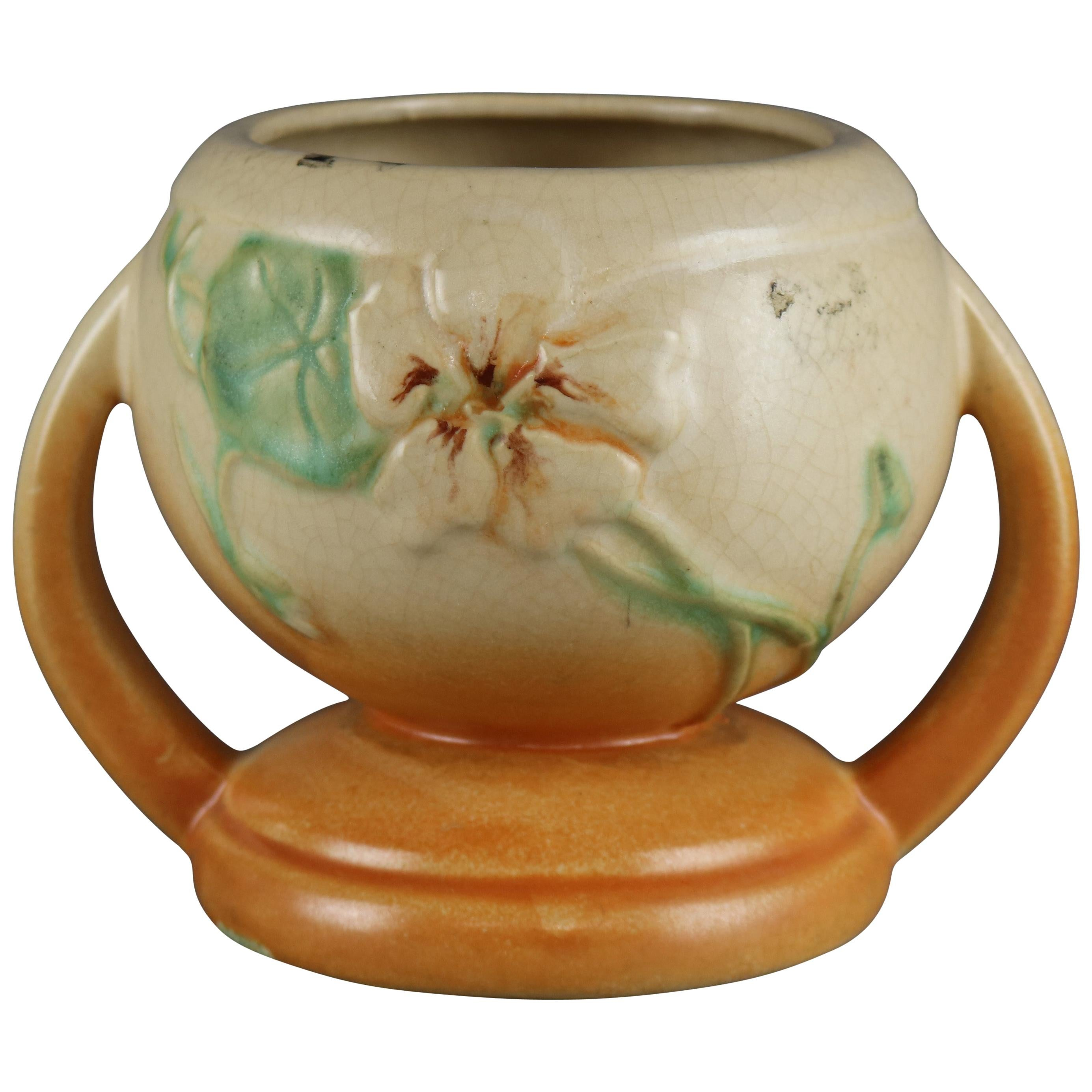 Antique Weller Floral Art Pottery Double Handled Vase, Circa 1930