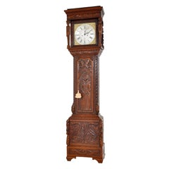 Antique Welsh Carved Oak 8-Day Longcase/Grandfather Clock, Thomas Evans