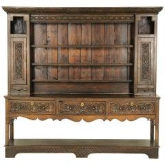 Antique Welsh Dresser, Carved Oak, 18th Century Sideboard, Scotland, 1790