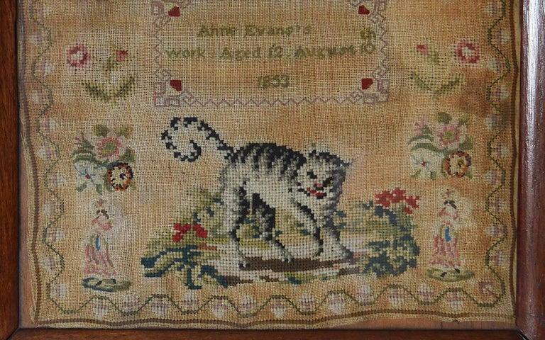 Folk Art Antique Welsh Sampler with a Cat, Anne Evans, 1853 For Sale