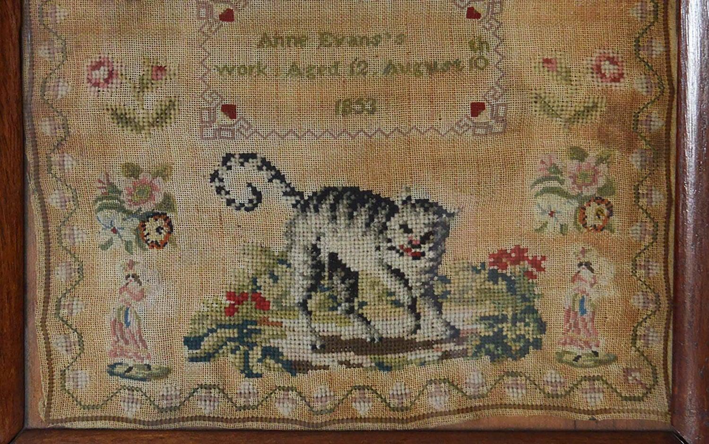 Antique Welsh Sampler with a Cat, Anne Evans, 1853 For Sale at 1stdibs