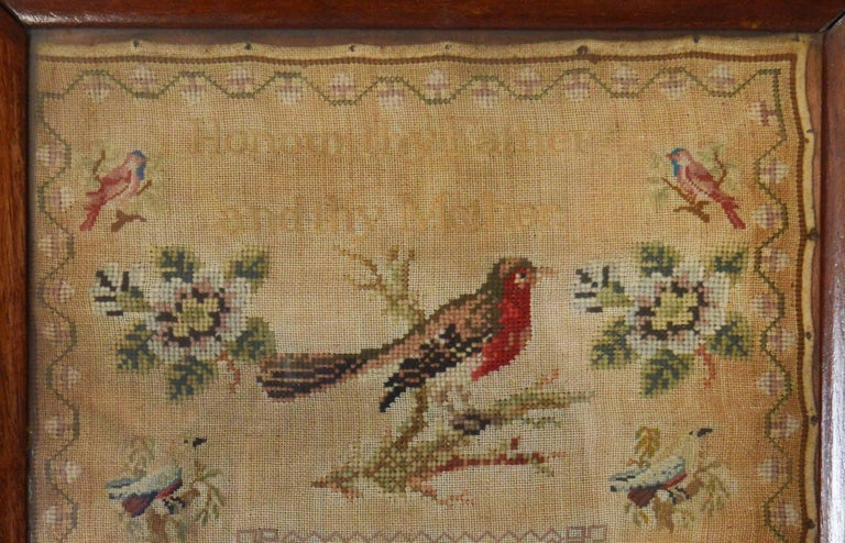 Embroidered Antique Welsh Sampler with a Cat, Anne Evans, 1853 For Sale