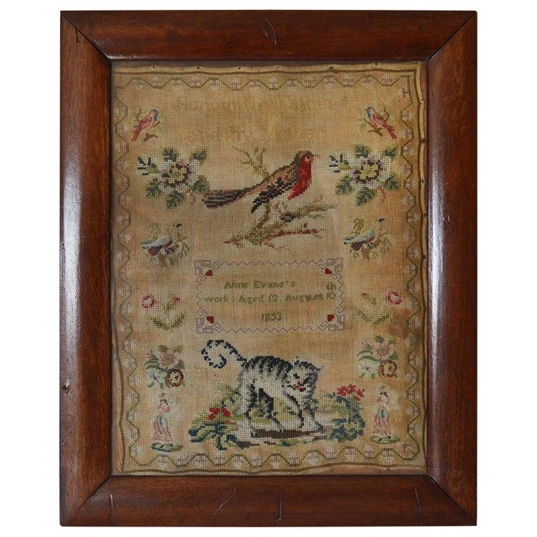Antique Welsh Sampler with a Cat, Anne Evans, 1853 For Sale