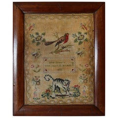 Antique Welsh Sampler with a Cat, Anne Evans, 1853