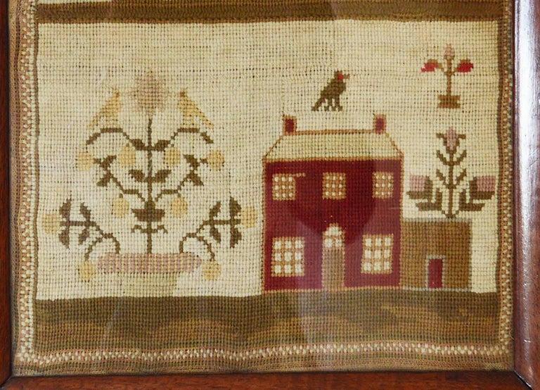 Folk Art Antique Welsh Sampler with a Country House, Elizabeth Evans, 1851 For Sale