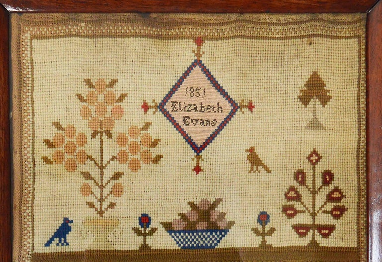 Embroidered Antique Welsh Sampler with a Country House, Elizabeth Evans, 1851 For Sale
