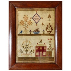 Antique Welsh Sampler with a Country House, Elizabeth Evans, 1851