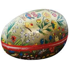 Antique West German Papier Mâché Easter Egg Candy Container Gold Flowers Birds