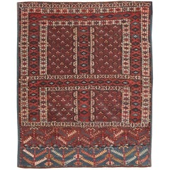 Antique West Turkestan Yamout Rug. Size: 4 ft x 5 ft (1.22 m x 1.52 m)