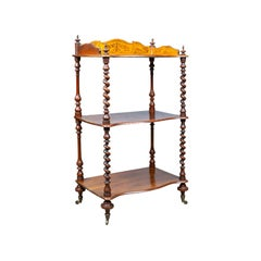 Antique Whatnot, English Walnut, Three Tier, Victorian, Display Stand circa 1850
