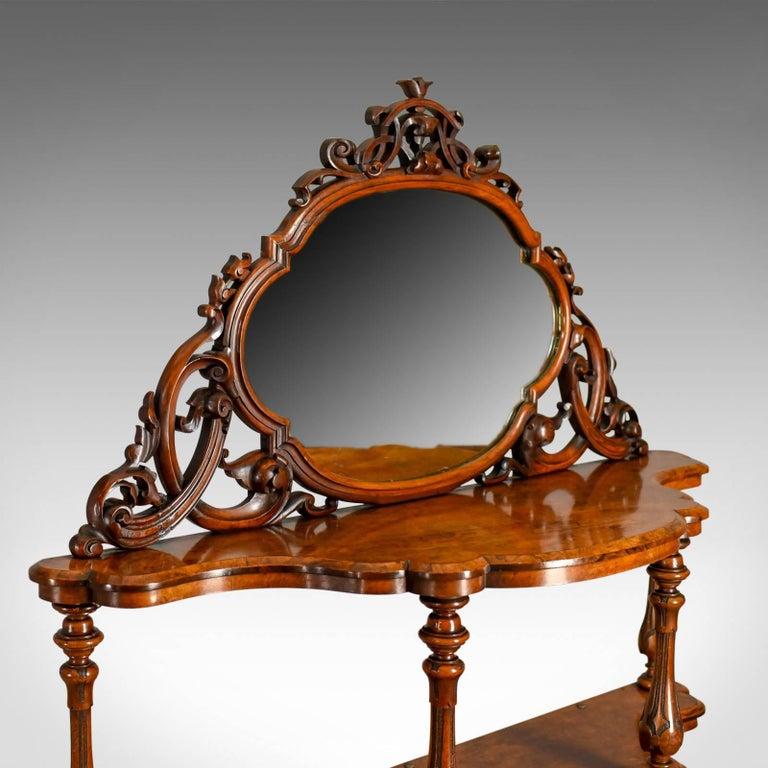 Victorian Antique Whatnot Irish, Burr Walnut, Mirror Stand Robert Strahan & Co, circa 1840 For Sale