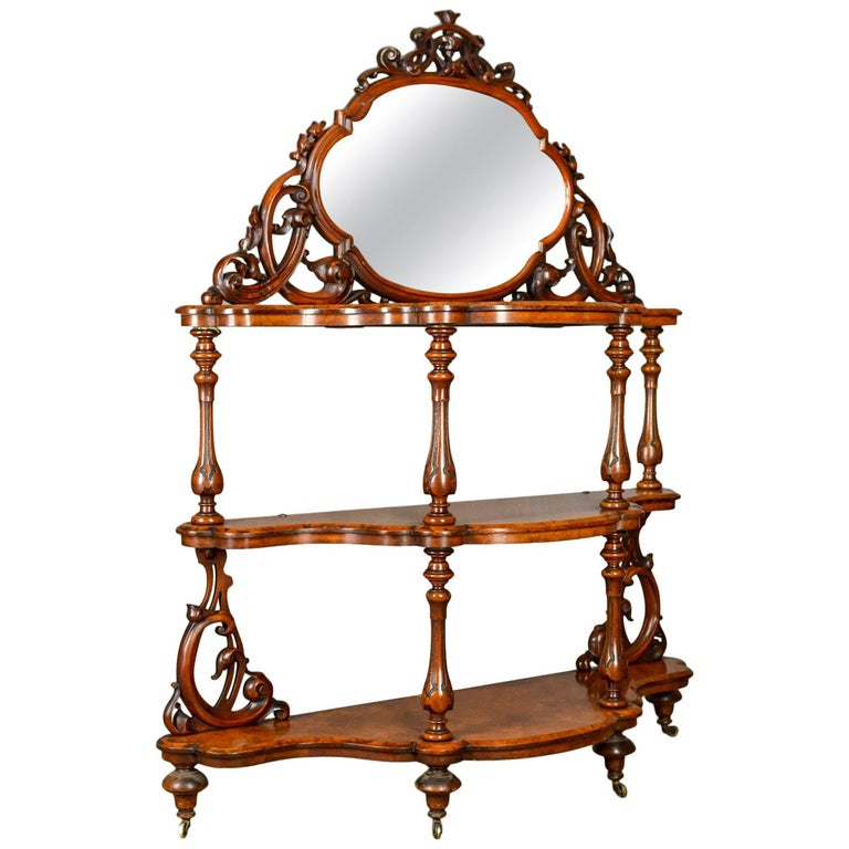 Antique Whatnot Irish, Burr Walnut, Mirror Stand Robert Strahan & Co, circa 1840 For Sale