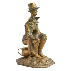 Antique Whimsical Bronze Cigar Cutter, Man on Potty, Ca 1910