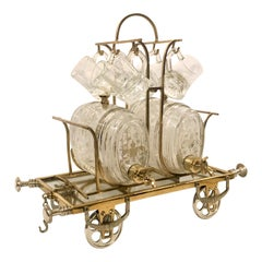 Antique Whiskey Cart with Glasses