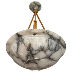 Antique White Alabaster Pendant / Chandelier w. Black Veins & Original Rope 1910