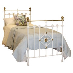 Antique White Brass and Iron Victorian Single Bed, MS48