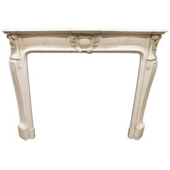 Antique White Carrara Marble Fireplace Mantel, 19th Century, Italy