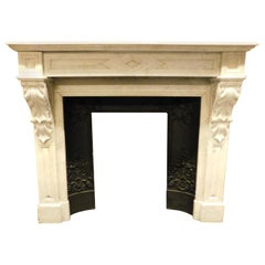 Antique White Carrara Marble Fireplace Mantel, Carved, 19th Century France