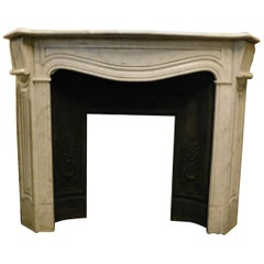 Antique White Carrara Marble Fireplace Mantle Carved, Early 1900s, Genoa 'Italy'