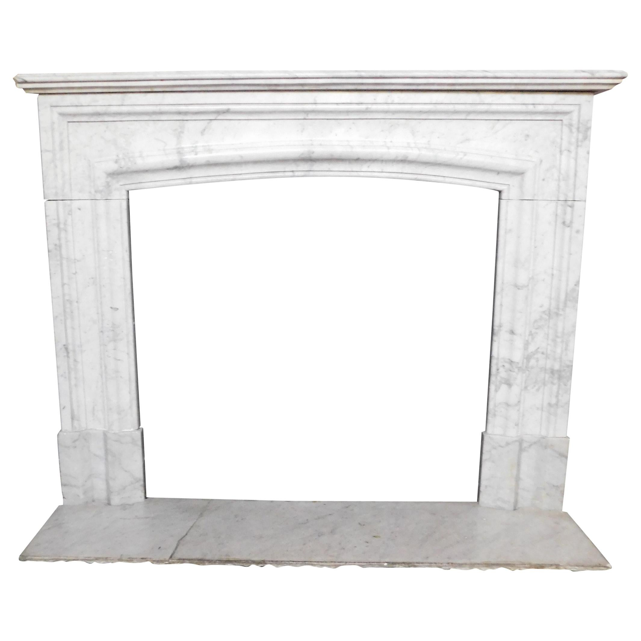 Antique White Carrara Marble Fireplace Mantle Complete, 19th Century, Italy