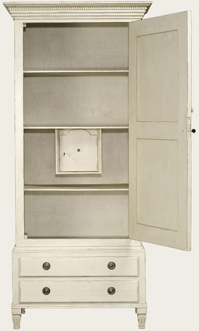 Antique White Distressed Painted Wardrobe Cabinet With Shelves And Safe