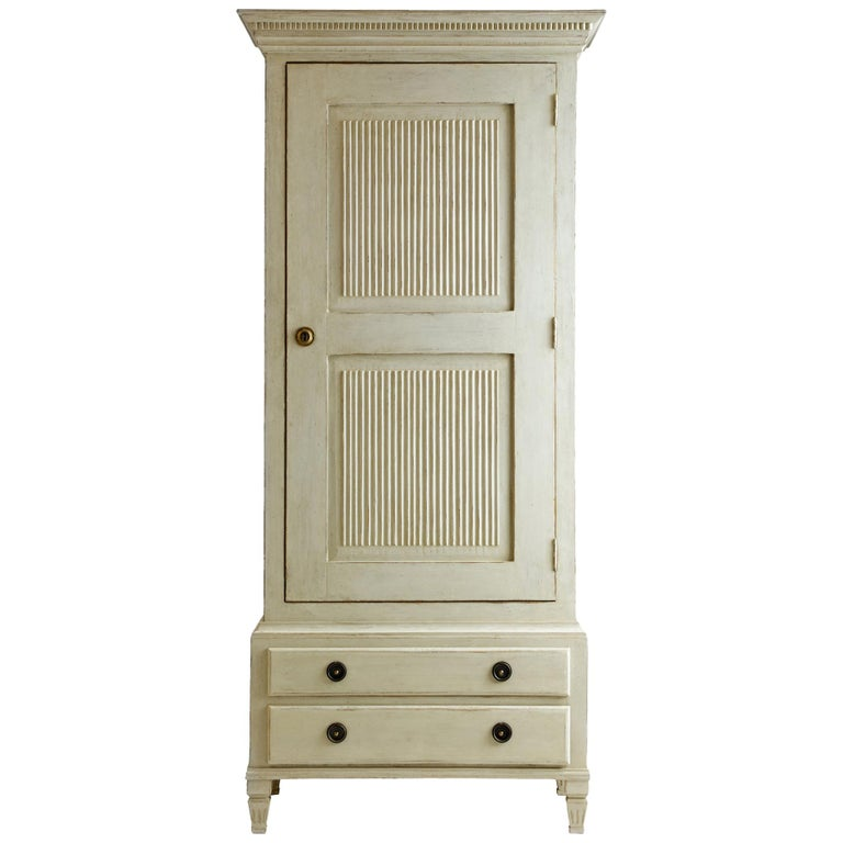 Antique White Distressed Painted Wardrobe Cabinet With Shelves And Safe For