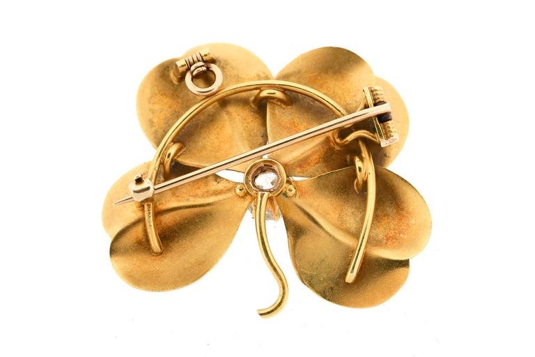 Art Nouveau Antique White Enamel 18 Karat Gold Old European Cut Diamond Flower Pin Pendant For Sale