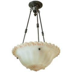 Antique White Glass Pendant or Bowl Style Chandelier, Art Nouveau Design