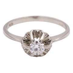 Antique White Gold and 0.25 Carat Diamond Solitaire Ring, 1940s