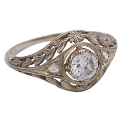 Antique White Gold and Diamond Ring, 1930s