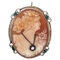 Antique White Gold Cameo Brooch Pendant with Diamond and Emerald