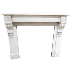 Antique White Marble Carrara Mantel Fireplace, 1800, Italy
