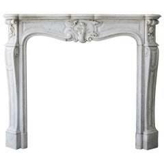 Antique White Marble Fireplace, Louis XV, 19th Century