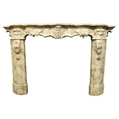 Antique White Marble Fireplace with Mask and Friezes, 18th Century, Italy