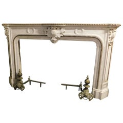 Antique White Marble Mantle Fireplace, Brass Profiles, 19th Century, Italy
