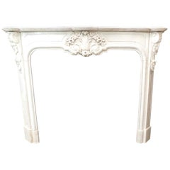 Antique White Marble Mantle Fireplace Carved Leaf Motifs, 1800, France