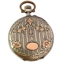 Antique White Metal Hand winding Pocket Watch