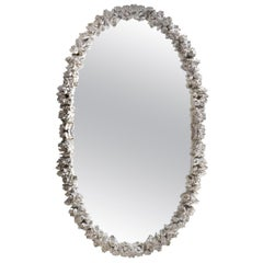 Antique White Oval Wall Mirror by Spini Firenze