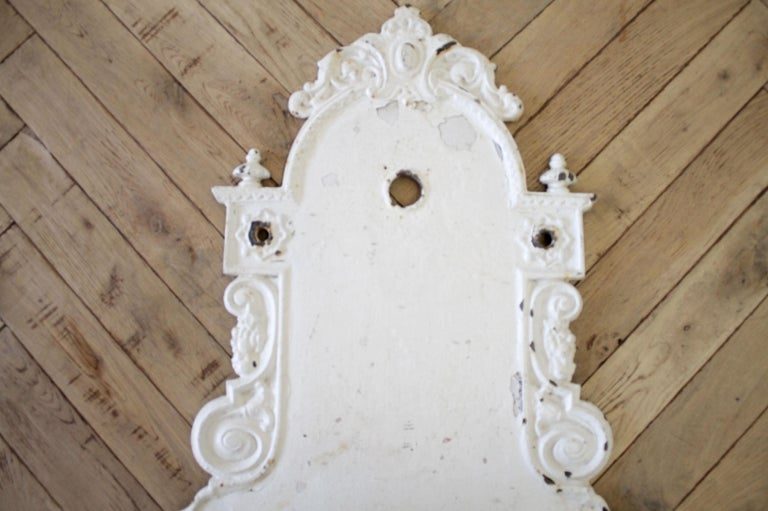 Antique White Painted European Iron Wall Fountain  In Good Condition For Sale In Brea, CA