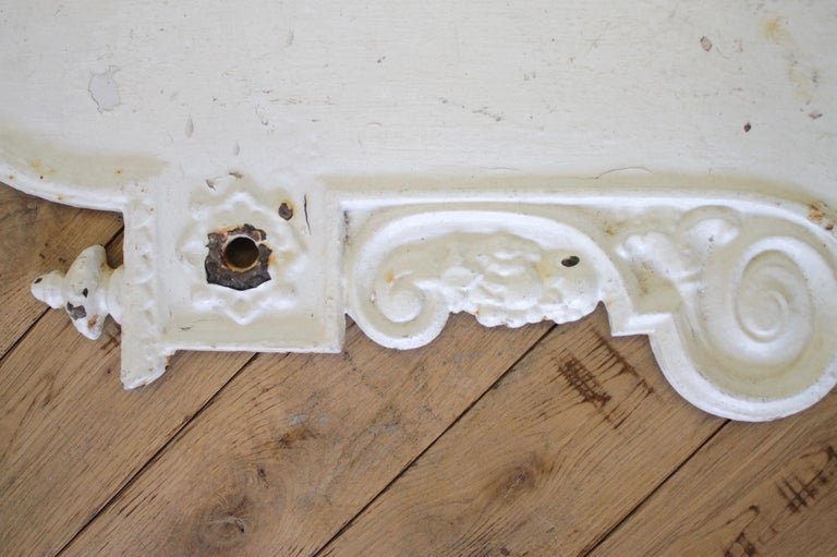 Antique White Painted European Iron Wall Fountain  For Sale 4