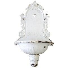 Antique White Painted European Iron Wall Fountain