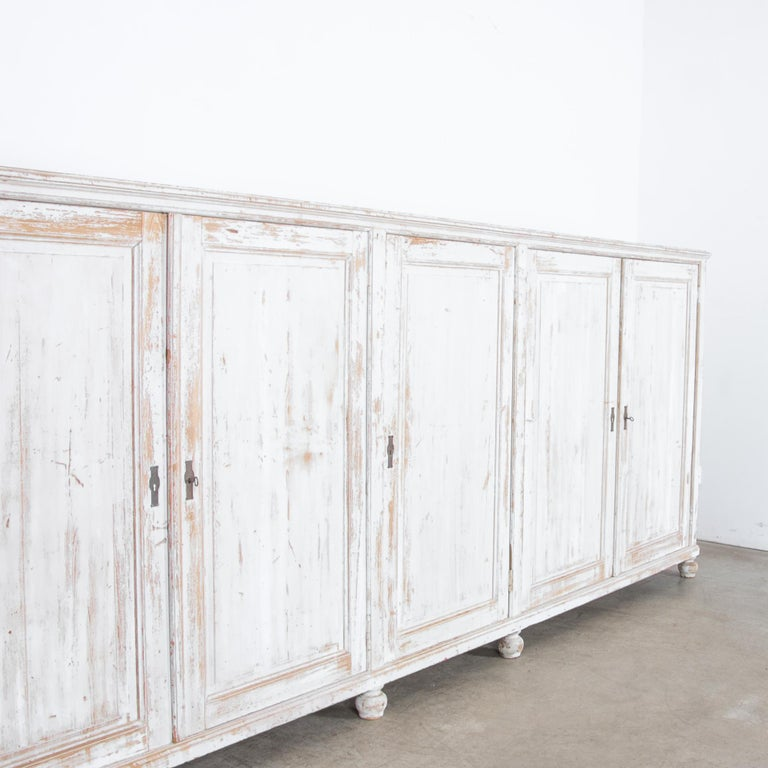 Antique White Painted French Five-Door Sideboard In Good Condition For Sale In High Point, NC