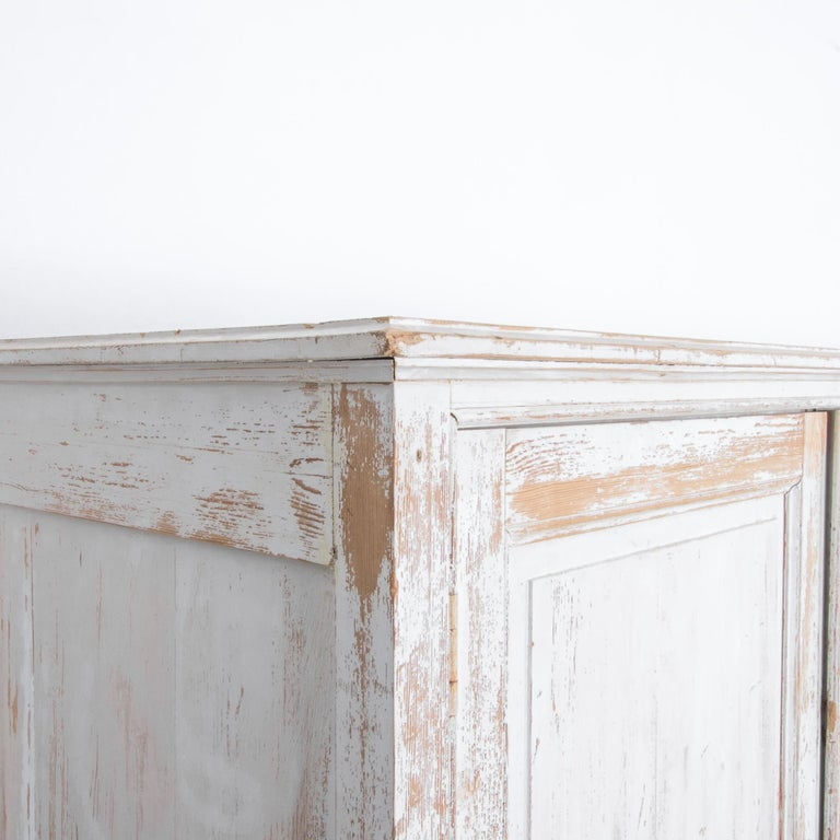 Softwood Antique White Painted French Five-Door Sideboard For Sale