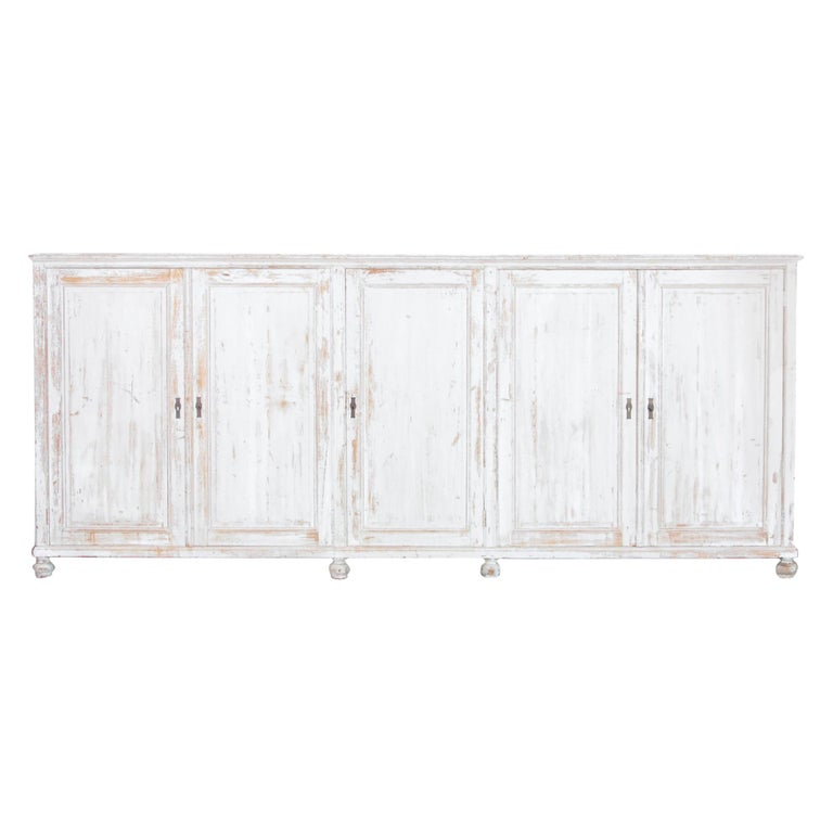 Antique White Painted French Five-Door Sideboard For Sale