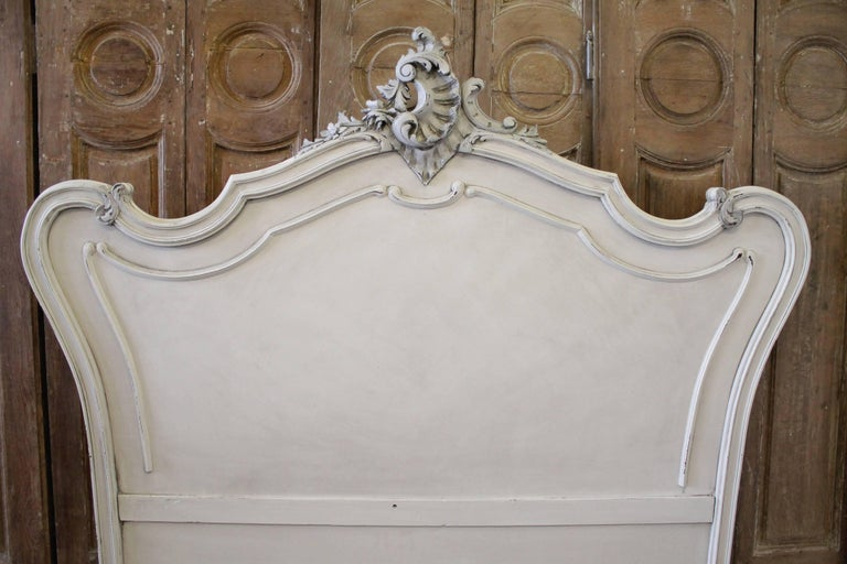 2d1ae5af2461 Antique white painted French Louis XV style walnut carved queen French bed  This bed was painted