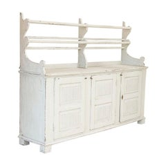 Antique White Painted Gustavian Buffet Cupboard with Plate Rack, Sweden