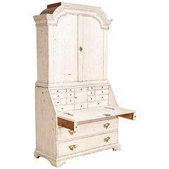 Antique White Painted Gustavian Secretary Desk Bureau, Sweden