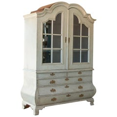 Antique White Painted Rococo Cabinet Bookcase